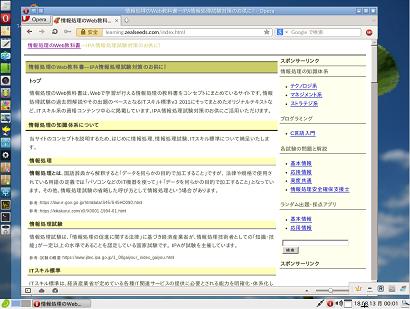 linuxbeanを起動してすぐにインターネットした際のイメージ